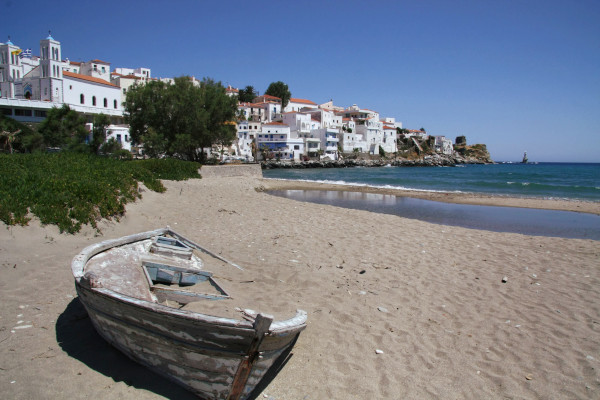 A photo showing a part of the Chora (main settlement) of Andros, Greece.