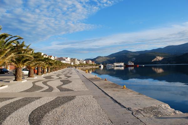 The seafront promenade of the town of Argostoli on Kefalonia island.