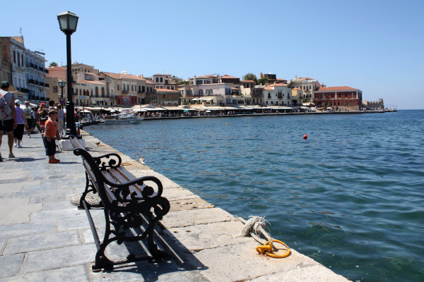 A photo showing one part of Chania old port.
