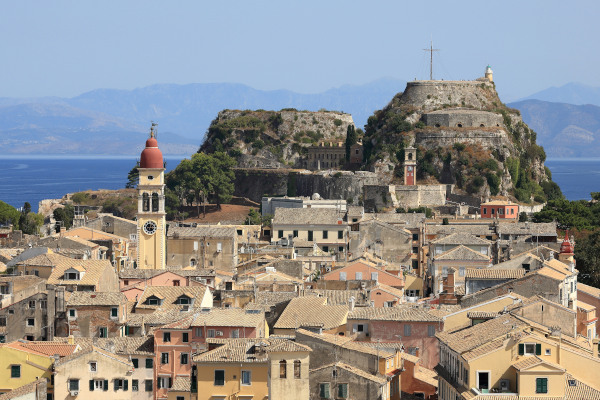 A picture showing the Old Fortress and a part of  the Old Town of Corfu (Kerkyra).