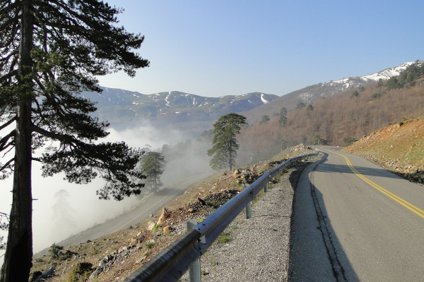 The rural road leading to Grevena among mountains of great altitude.