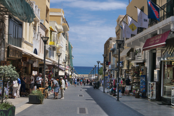 One of the central pedestrian streets of Heraklion leading to the sea.