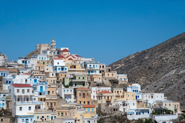 A picture showing a part of Olympos village of Karpathos.