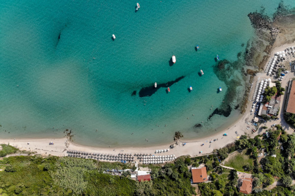 An aerial photo of one of the most famous beaches of Halkidiki, the beach of Afitos.
