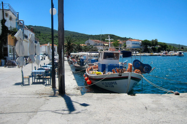 One of the small ports with some fishing boats on the island of Lesbos.