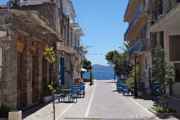 The pedestrian Petrou Palli street in Methana town.