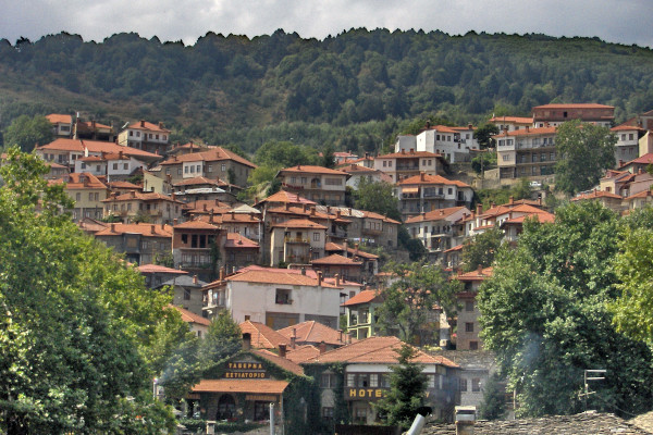 A picture showing a part of the village of Metsovo built amphitheatrically on the mountain slope.