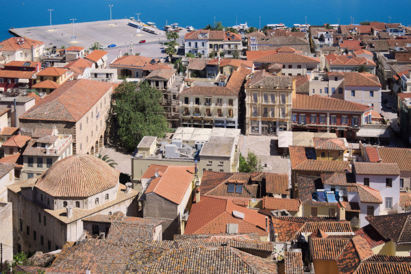 A panoramic picture showing a part of the old city of Nafplio.
