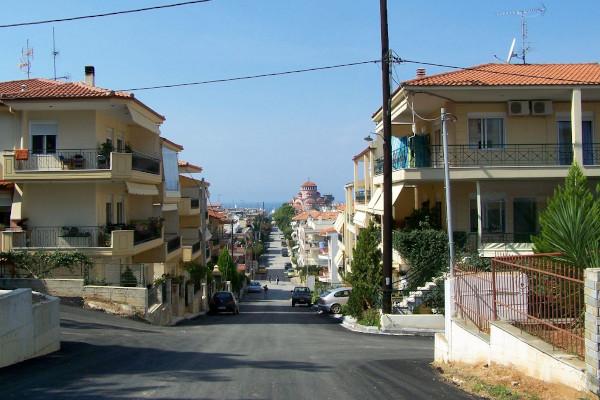 One typical street in a residential neighborhood of Nea Moudania in Halkidiki.