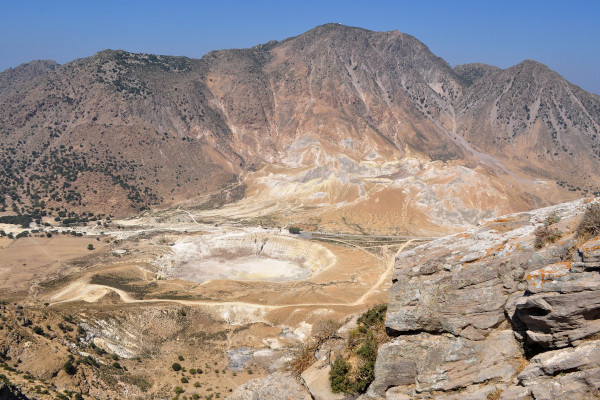 An overview of the crater Stefanos at the active volcano of Nisyros.