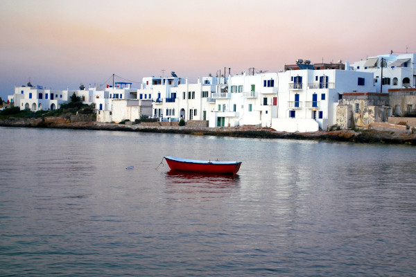 A part of the white houses of the settlement of Naousa on the island of Paros.