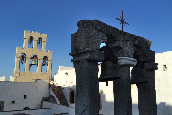A picture showing belfries on the island of Patmos.