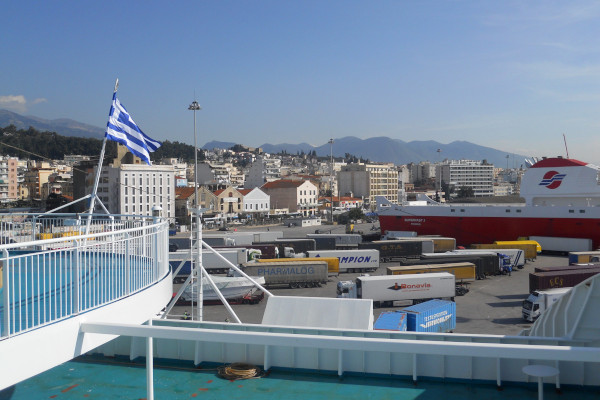The port and a part of the city of Patras while the boat is approaching.