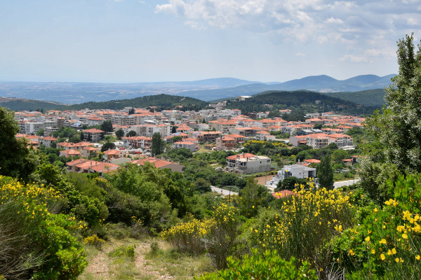 An overview of the city of Polygyros surrounded by mountains and dense vegetation.
