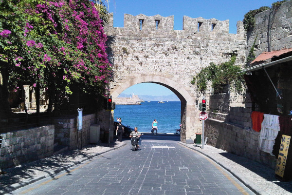 A picture showing one road in the medieval town (old town) of Rhodes.