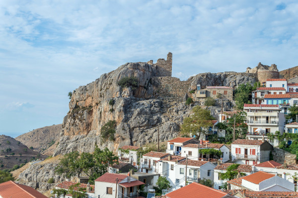 Traditional houses of Samothraki's main village (Chora) and ruins of the medieval castle at the edge of the settlement.