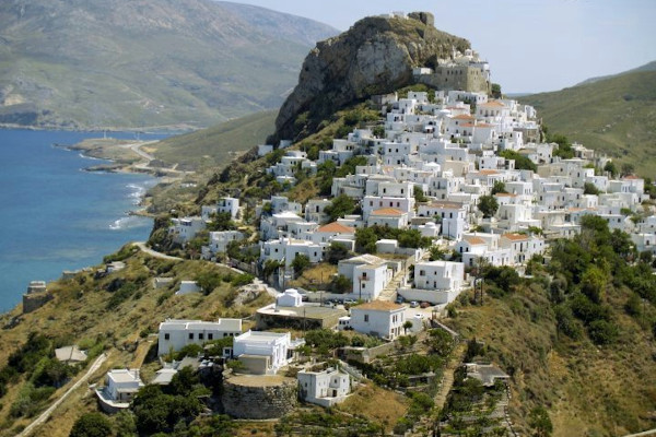 An overview of the Chora (main village) of Skyros.