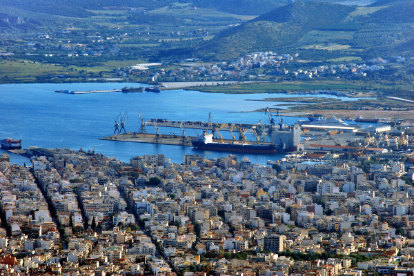 An overview of a part of Volos including the port of the city.