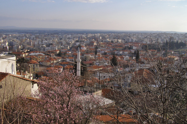 A panoramic view that includes the old and the contemporary town of Xanthi.