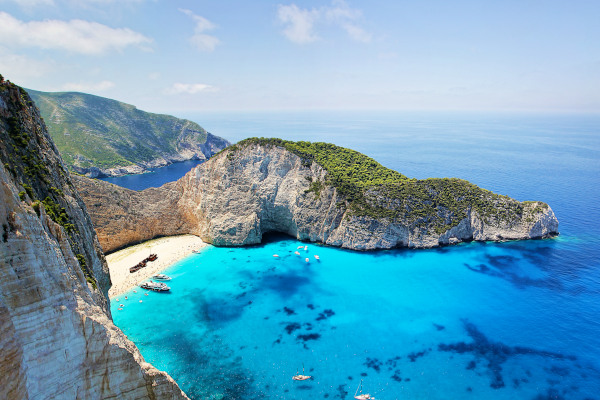 A panoramic picture of the most famous attraction of Zakynthos, the Shipwreck (navagio) beach.