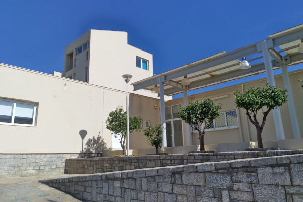 The yard and the exterior of the Archaeological Museum of Agios Nikolaos on Crete.