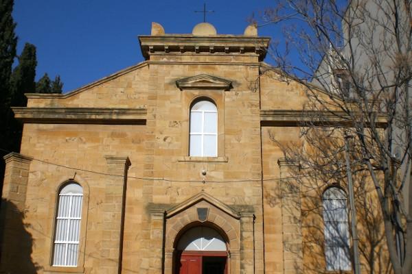 The entrance of St. Joseph's Catholic Church in Alexandroupoli.