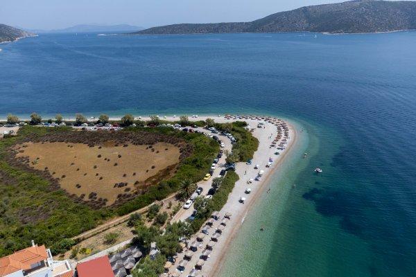 An aerial photo of the Agios Dimitrios beach on Alonnisos.