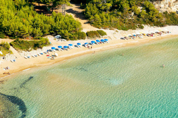 An aerial photo of the Chrisi Milia beach of the island of Alonnisos.