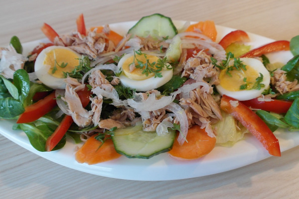 A close-up image depicting a salad with tuna, eggs and vegetables.