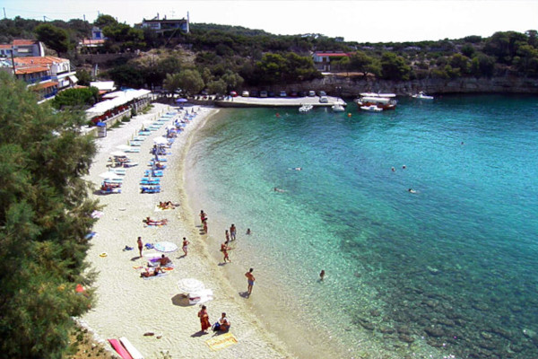A panoramic image showing the Rousoum Gialos beach at Votsi of Alonnisos.