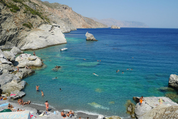 A panoramic picture showing the beach of Agia Anna on Amorgos island.