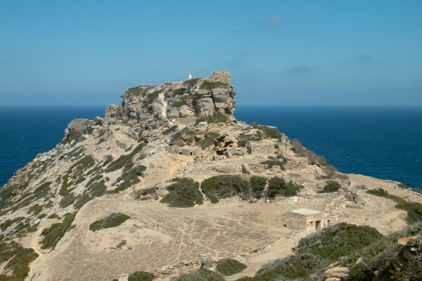 A picture showing the hill of the acropolis of the Ancient Arcesine on the island of Amorgos.