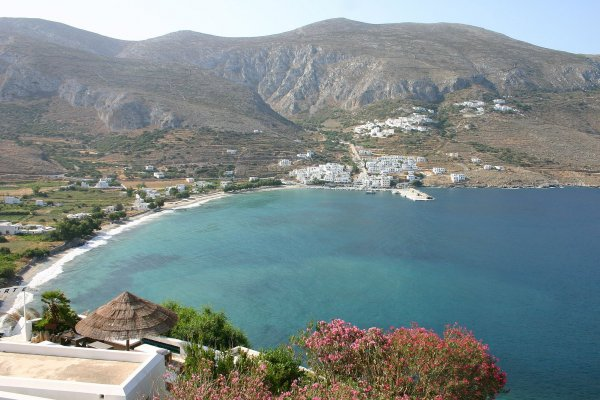 A panoramic photo of the Egiali bay including the homonymous beach on Amorgos island.