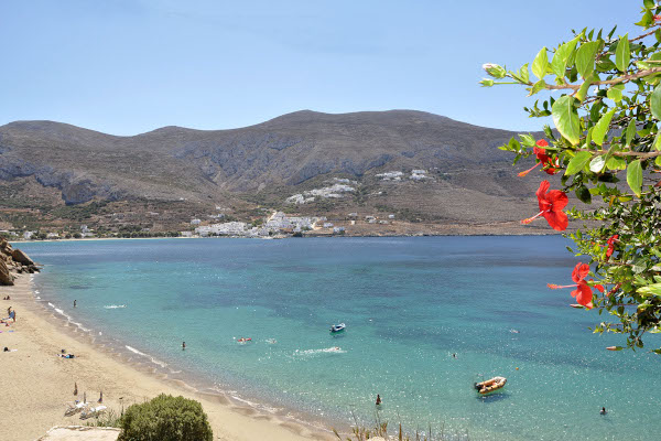 An overview of the Levrossos Beach on the island of Amorgos.