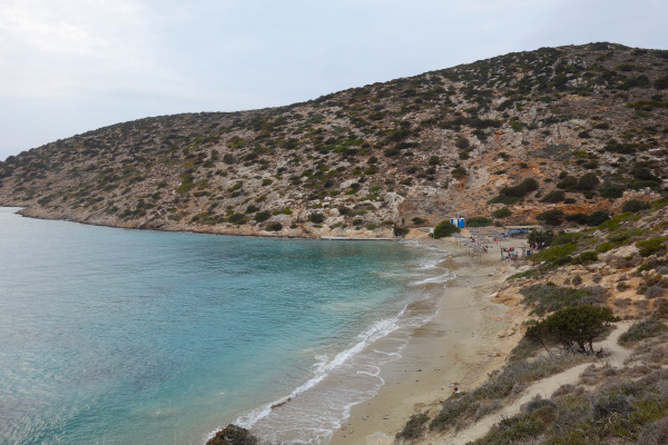 A panoramic picture of the bay that hosts the beach of Maltezi at Katapola of Amorgos.