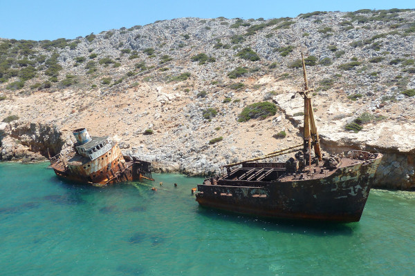 A picture of the Shipwreck of Olympia at Amorgos island.