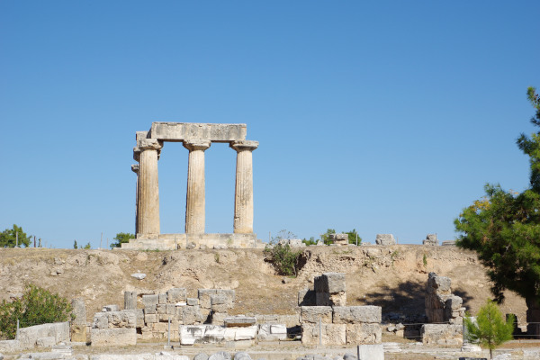 Remains of the temple of Apollo in the Archeological Site of Ancient Corinth.