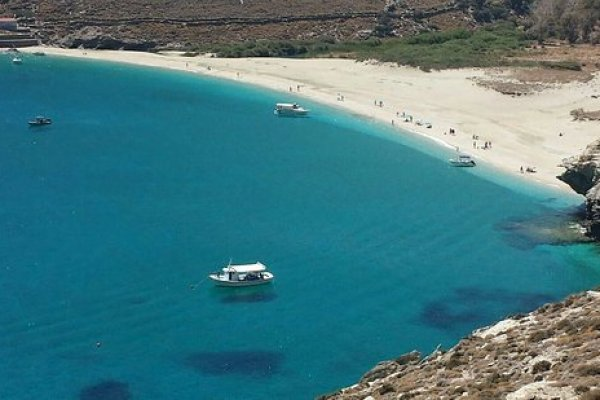 A panoramic photo showing the Agios Petros (St. Peter) Beach of the island of Andros.