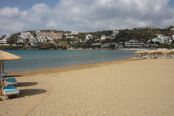 A part of the Batsi (Mpatsi) Beach on the island of Andros between the local beach bars.