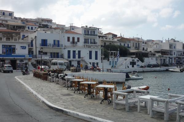 The seaside promenade of the village of Batsi on the island of Andros.