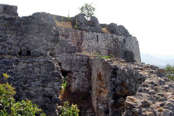 A part of the walls and fortification of the Ali Pasha Castle at Anthousa village near Parga.