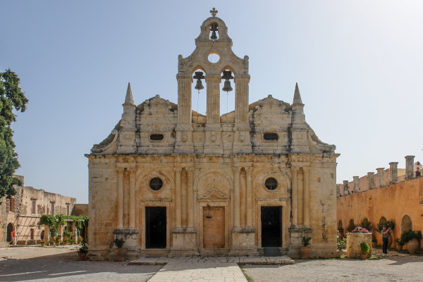 The exterior front side and main entrance of the main church of the Monastery of Arkadi.