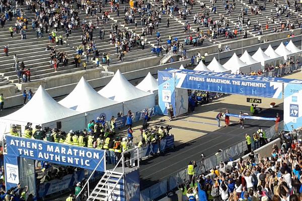 The finishing line of the Athens Marathon in the Panathenaic Stadium.