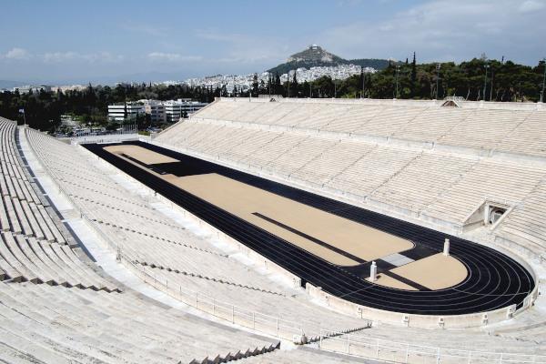 An overview of the interior of the Panathenaic (Kallimarmaro) Stadium of Athens.