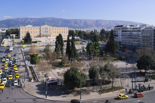 An overview depicting Syntagma Square of Athens situated in front of the Greek Parliament.