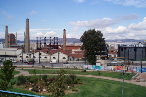 A picture showing the buildings of the cultural venue Technopolis of Gazi in Athens.