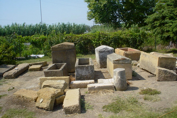 A picture showing excavation findings and more specifically, sarcophagus at the cemetery of Avdira.