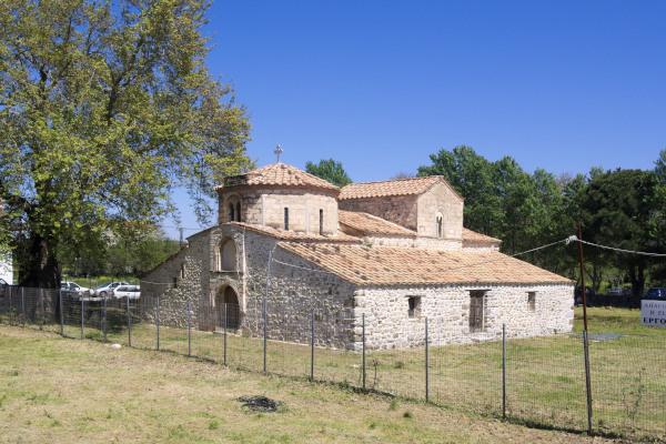 The exterior of St. Demetrius Church in Avlonari, Evia.