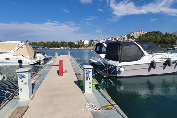 Private speed boats anchored in Bourkari Marina of Chalkida.
