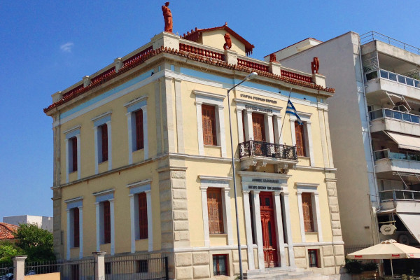 The exterior of the House with the Statues (Lyceum) of Chalkida located at the sea promenade of the city.
